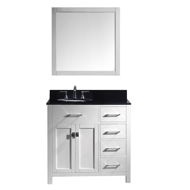 Virtu MS-2136R-BGRO-WH-001 Caroline Parkway 36 Inch Single Bathroom Vanity Set In White