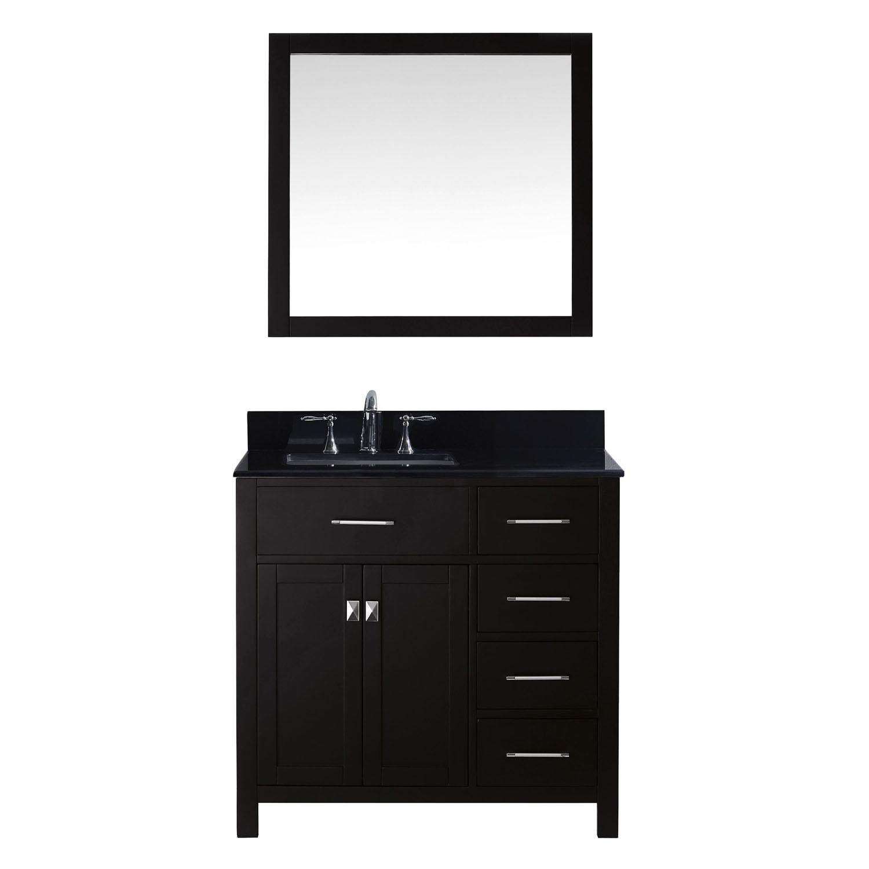 Virtu MS-2136R-BGSQ-ES-001 Caroline Parkway 36 Inch Single Bathroom Vanity Set In Espresso