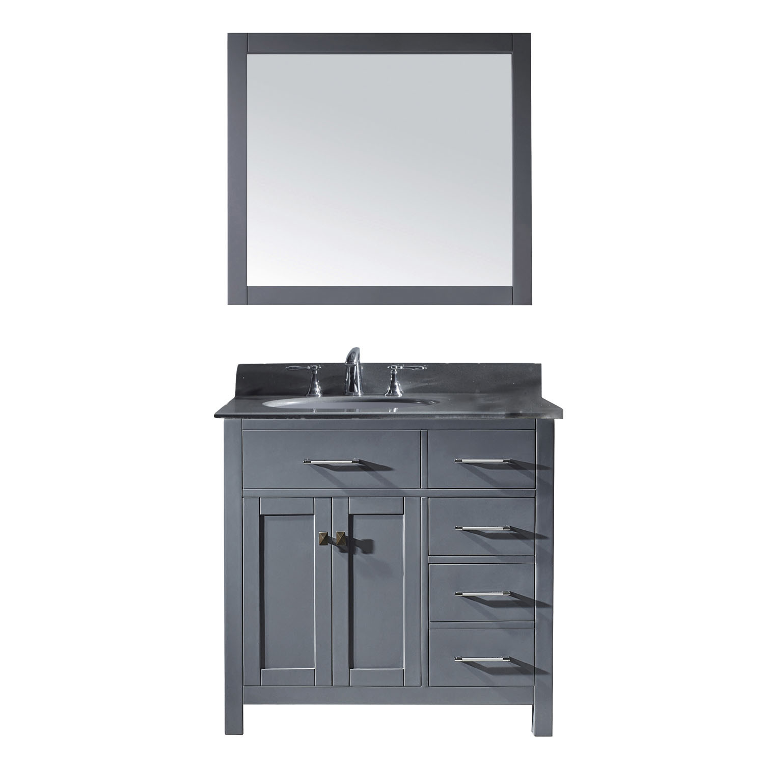 Virtu MS-2136R-GQRO-GR-002 Caroline Parkway 36 Inch Single Bathroom Vanity Set In Grey