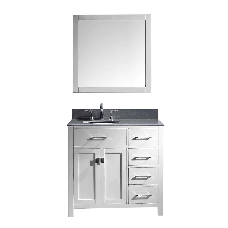 Virtu MS-2136R-GQRO-WH Caroline Parkway 36 Inch Single Bathroom Vanity Set In White