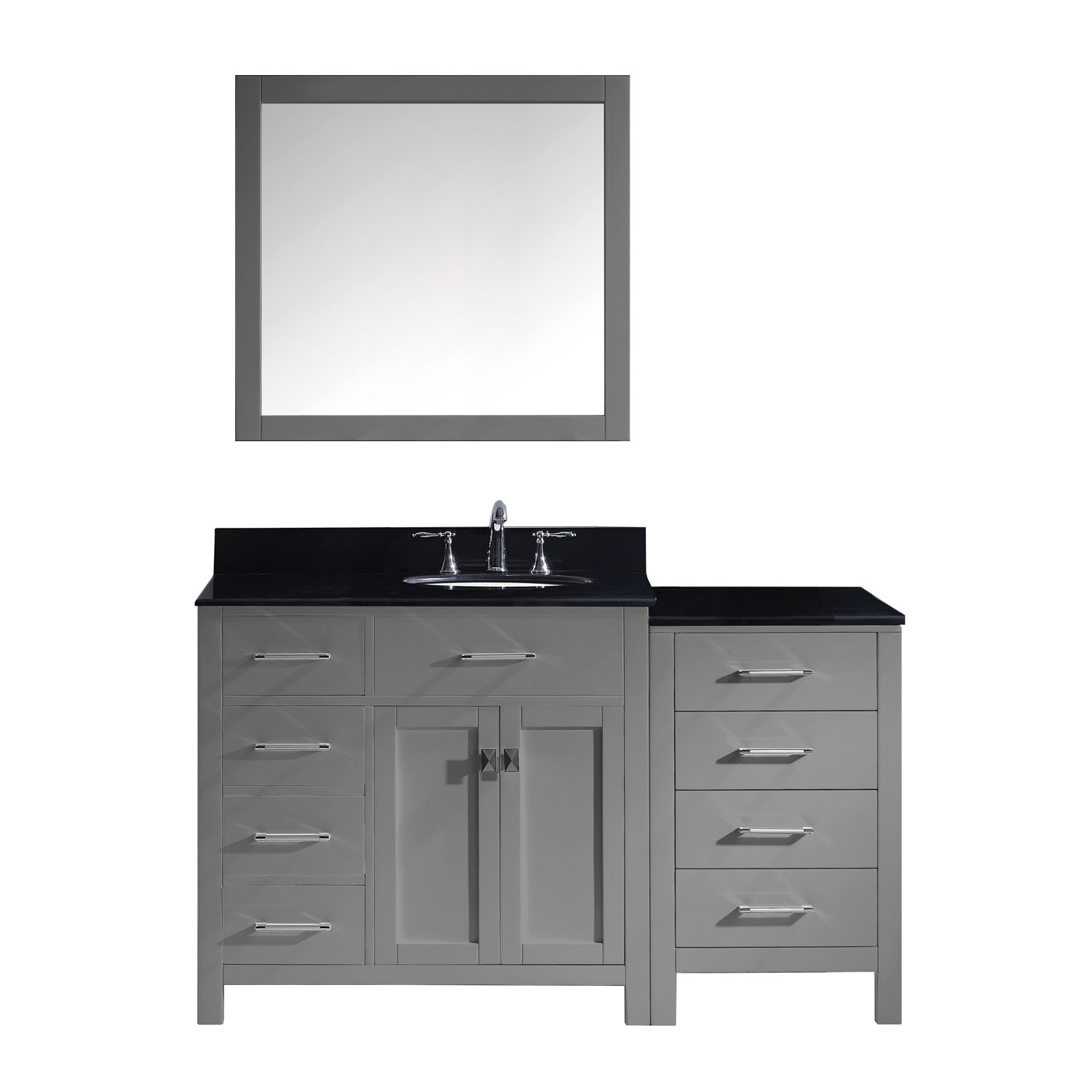 Virtu MS-2157L-BGRO-GR-002 Caroline Parkway 57 Inch Single Bathroom Vanity Set In Grey