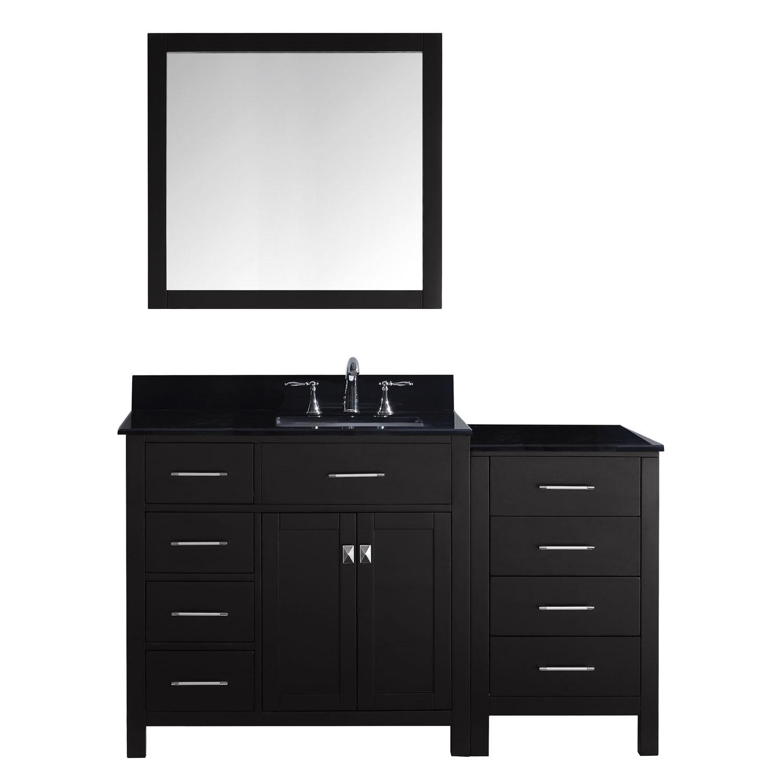 Virtu MS-2157L-BGSQ-ES-001 Caroline Parkway 57 Inch Single Bathroom Vanity Set In Espresso