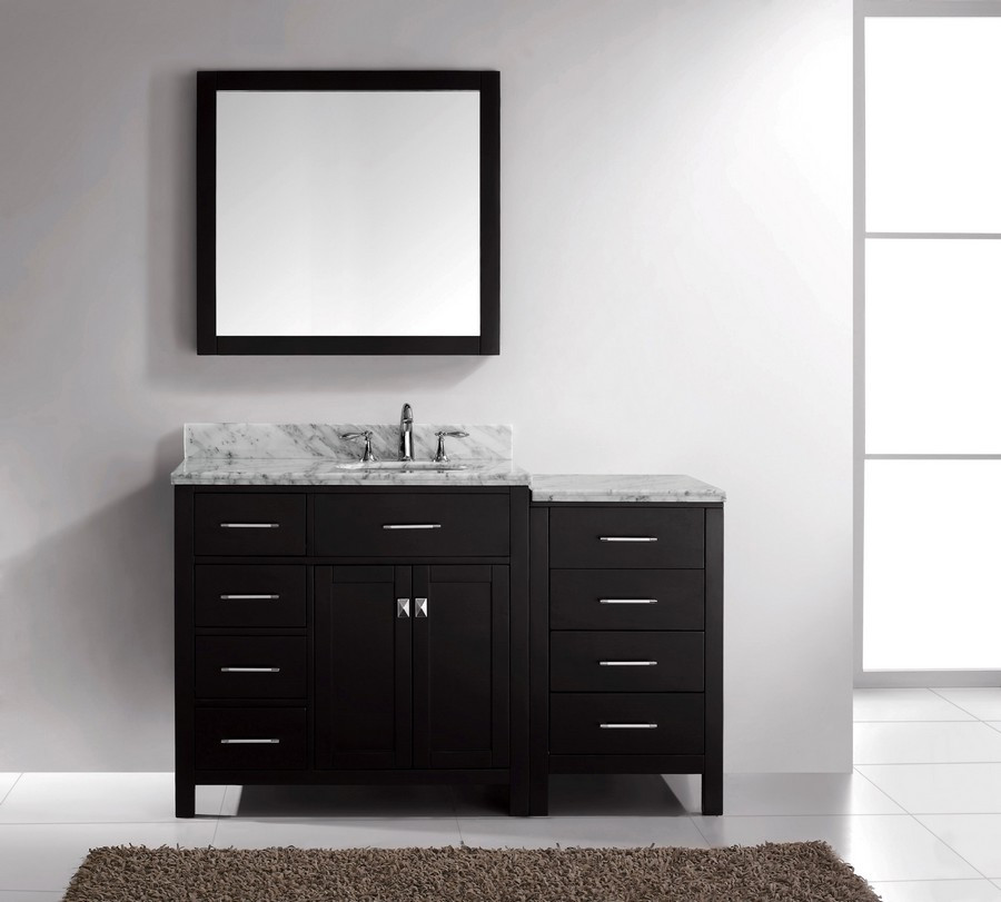 "Virtu MS-2157L-WMRO-ES-002 57"" Espresso Single Round Sink Bath Vanity"