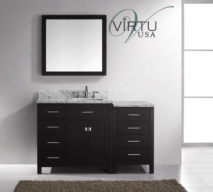 "Virtu USA MS-2157L-WMSQ-ES 57"" Caroline Parkway  Bathroom Vanity in Espresso"