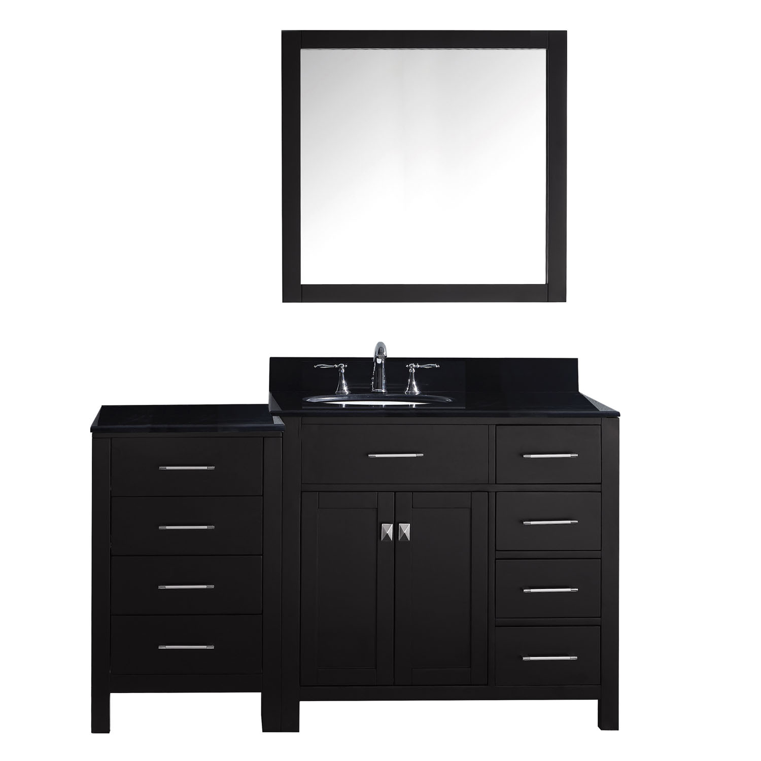 Virtu MS-2157R-BGRO-ES-002 Caroline Parkway 57 Inch Single Bathroom Vanity Set In Espresso