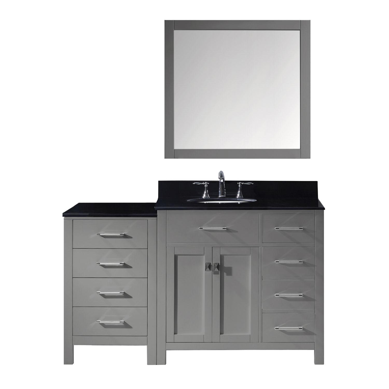 Virtu MS-2157R-BGRO-GR-001 Caroline Parkway 57 Inch Single Bathroom Vanity Set In Grey