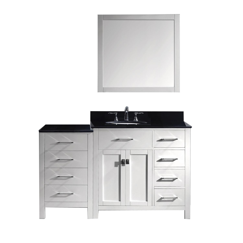 Virtu MS-2157R-BGRO-WH Caroline Parkway 57 Inch Single Bathroom Vanity Set In White