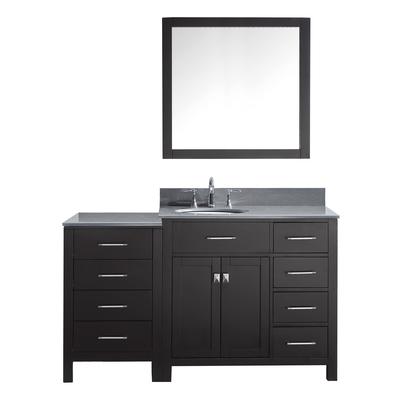 Virtu MS-2157R-GQRO-ES-001 Caroline Parkway 57 Inch Single Bathroom Vanity Set In Espresso