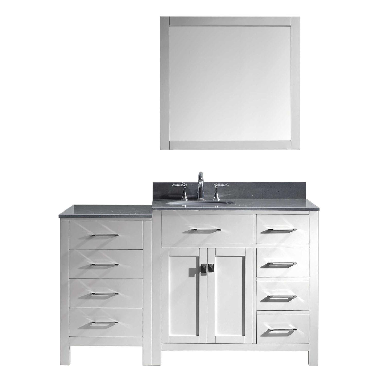 Virtu MS-2157R-GQRO-WH-002 Caroline Parkway 57 Inch Single Bathroom Vanity Set In White