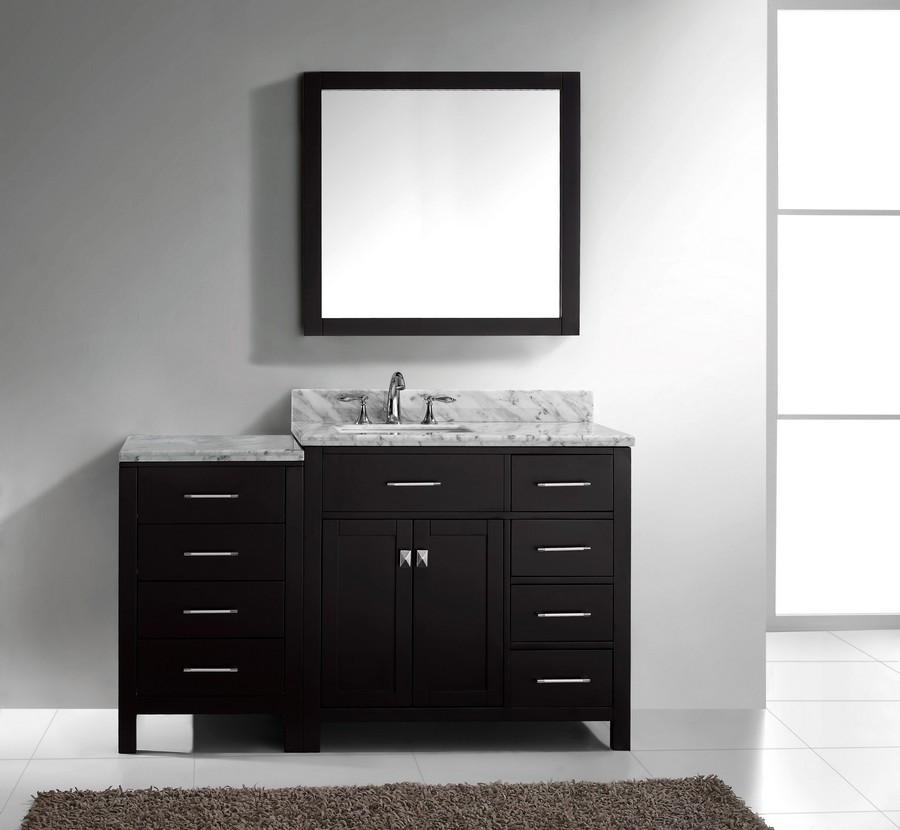 "Virtu MS-2157R-WMSQ-ES-002 57"" Espresso Single Square Sink Bath Vanity"