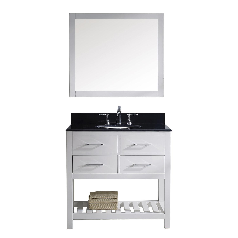 Virtu MS-2236-BGRO-WH Caroline Estate 36 Inch Single Bathroom Vanity Set In White