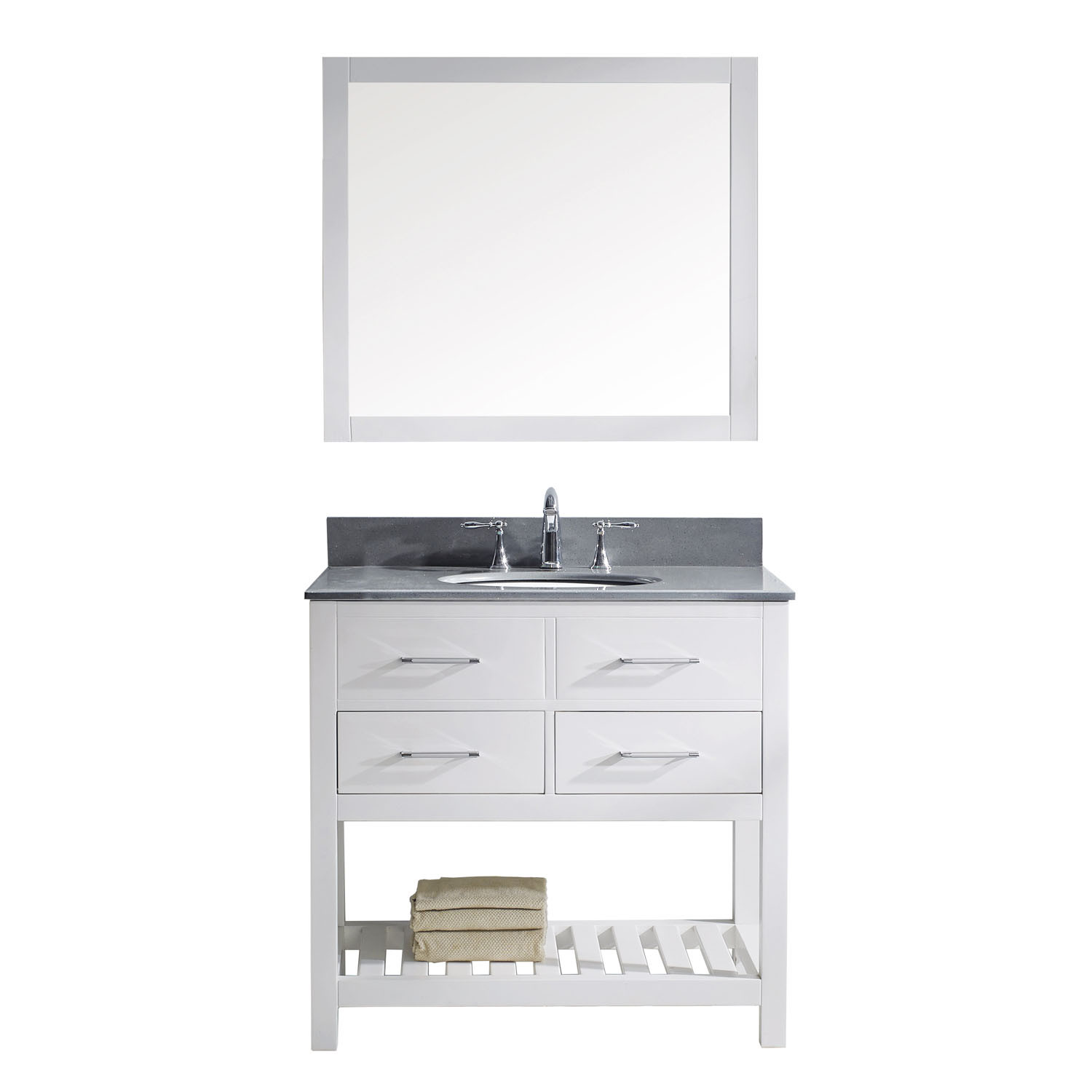 Virtu MS-2236-GQRO-WH-001 Caroline Estate 36 Inch Single Bathroom Vanity Set In White