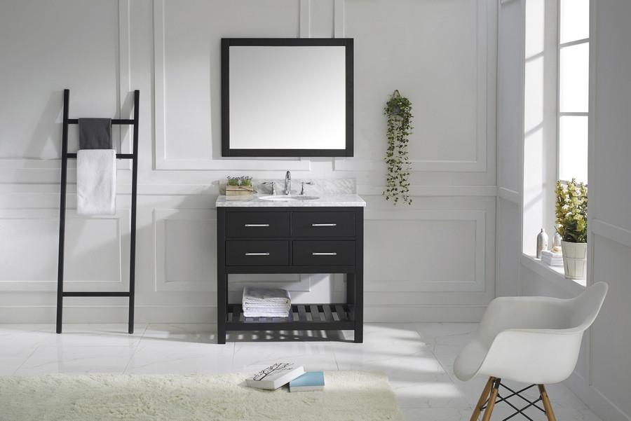 Virtu MS-2236-WMRO-ES Bath Vanity in Espresso with Carrara Marble Top