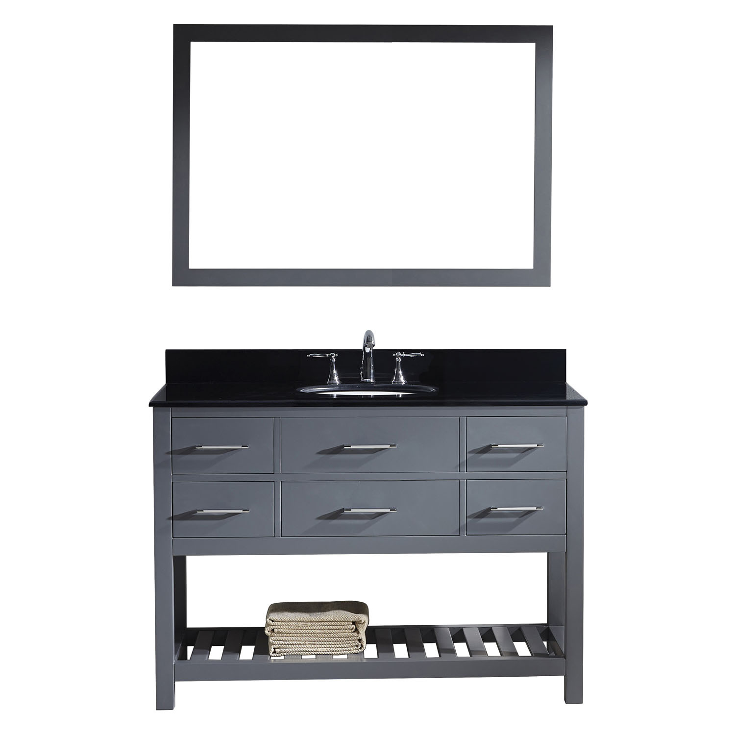 Virtu MS-2248-BGRO-GR-001 Caroline Estate 48 Inch Single Bathroom Vanity Set In Grey