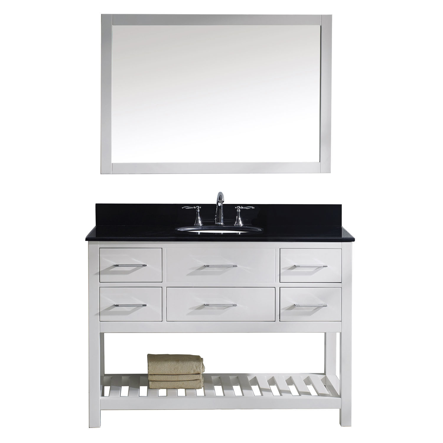 Virtu MS-2248-BGRO-WH Caroline Estate 48 Inch Single Bathroom Vanity Set In White
