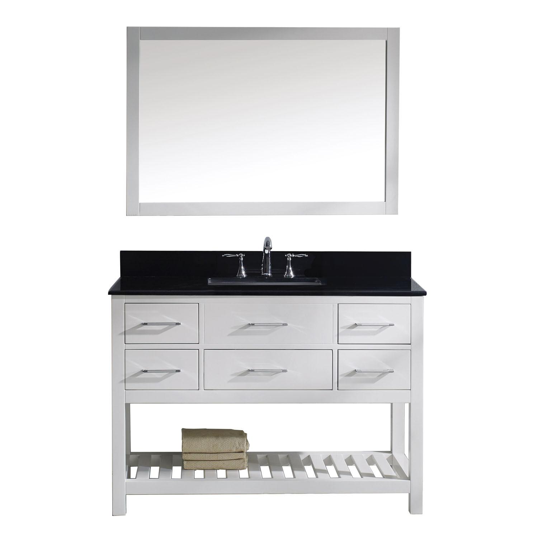 Virtu MS-2248-BGSQ-WH Caroline Estate 48 Inch Single Bathroom Vanity Set In White