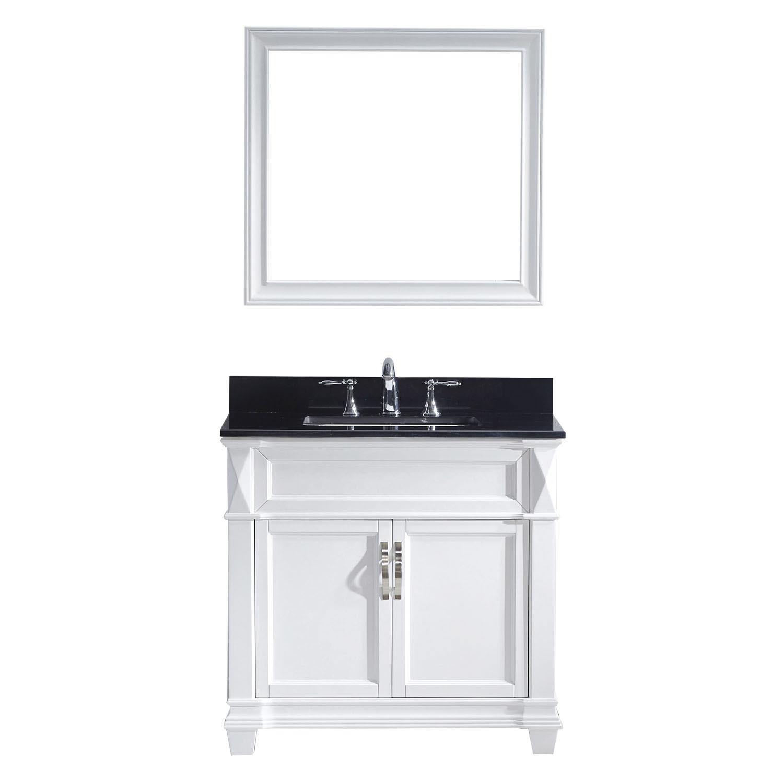 Virtu MS-2636-BGSQ-WH-001 Victoria 36 Inch Single Bathroom Vanity Set In White
