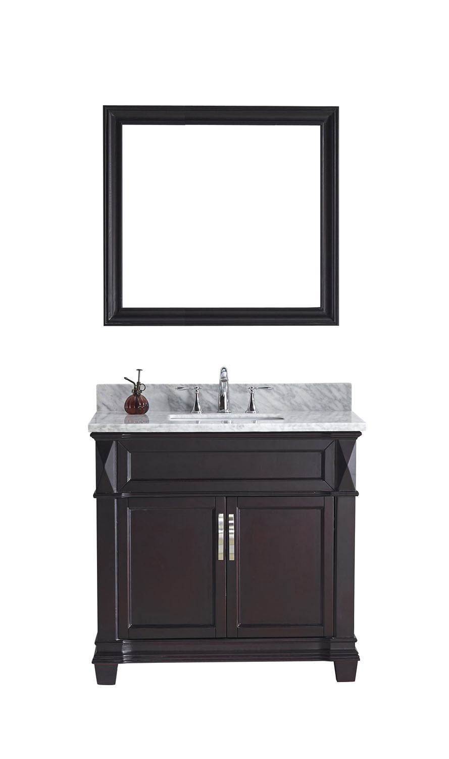 VirtuMS-2636-WMSQ-..-002 Victoria 36 Inch Single Bathroom Vanity Set In Grey
