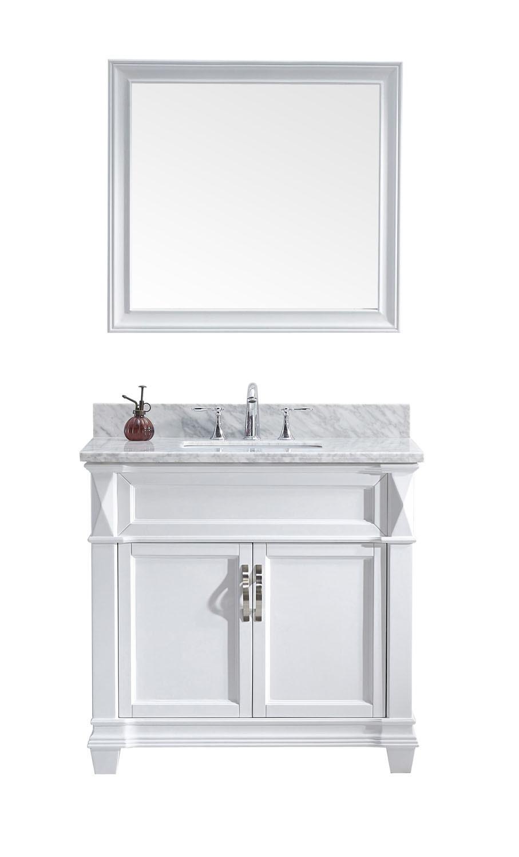Virtu MS-2636-WMSQ-WH-001 Victoria 36 Inch Single Bathroom Vanity Set In White