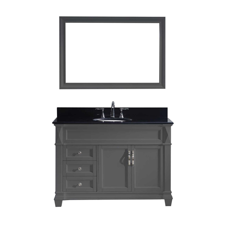 Virtu MS-2648-BGRO-GR-001 Victoria 48 Inch Single Bathroom Vanity Set In Grey