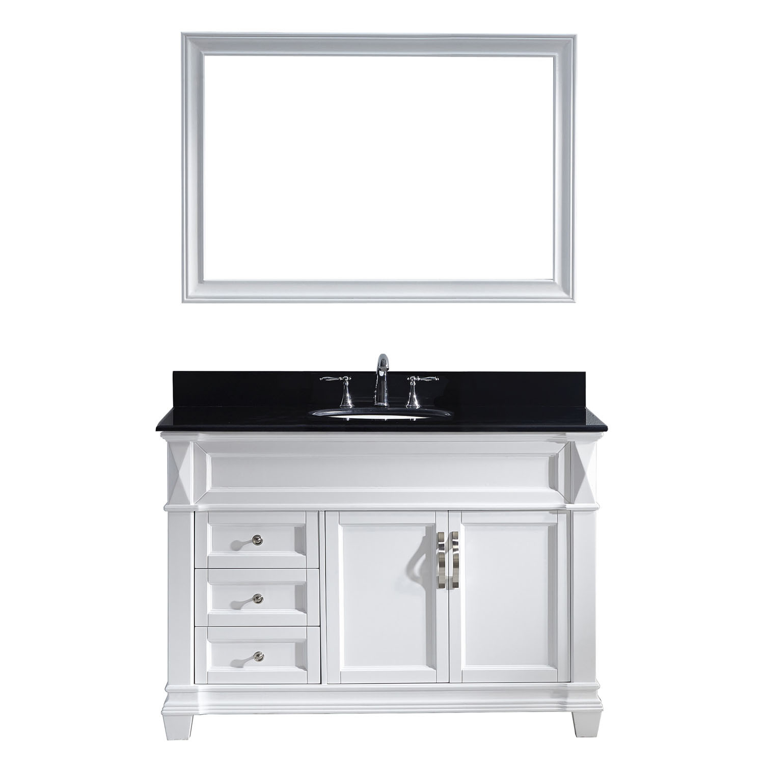 Virtu MS-2648-BGRO-WH-002 Victoria 48 Inch Single Bathroom Vanity Set In White