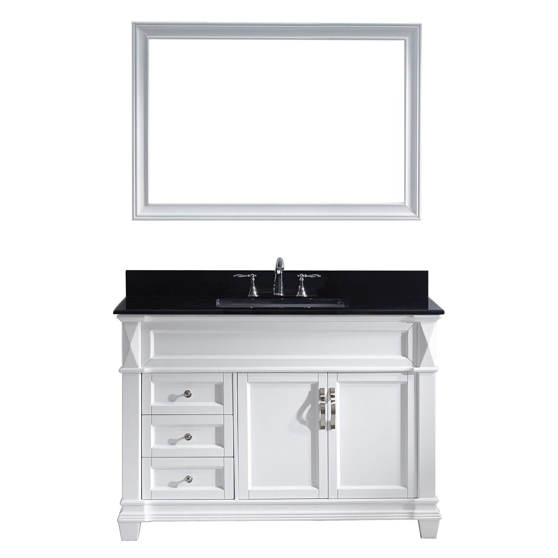 VIRTU MS-2648-BGSQ-WH-001 Victoria 48 Inch Single Bathroom Vanity Set In White