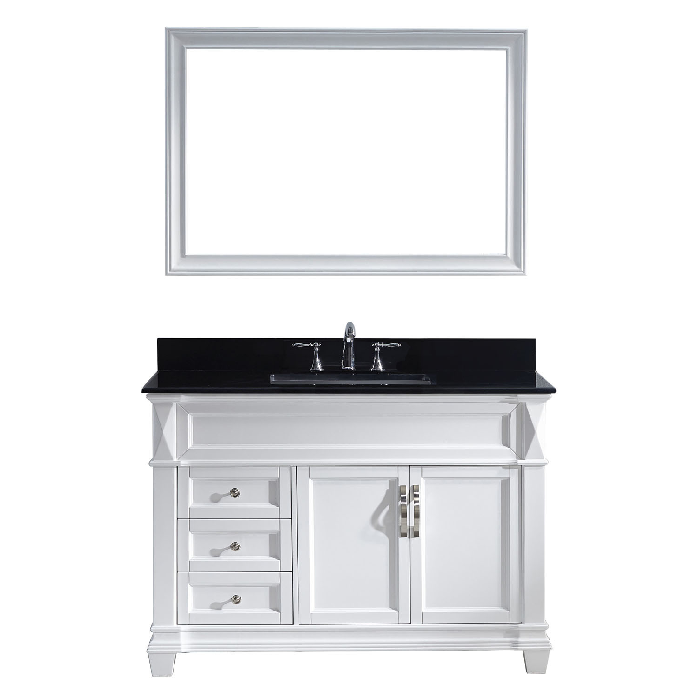 VIRTU MS-2648-BGSQ-WH-002 Victoria 48 Inch Single Bathroom Vanity Set In White