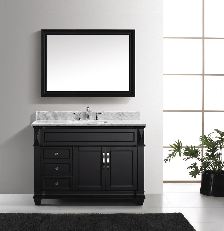 Virtu MS-2648-WMSQ-ES-001 Vanity Set in Espresso with Carrara Marble