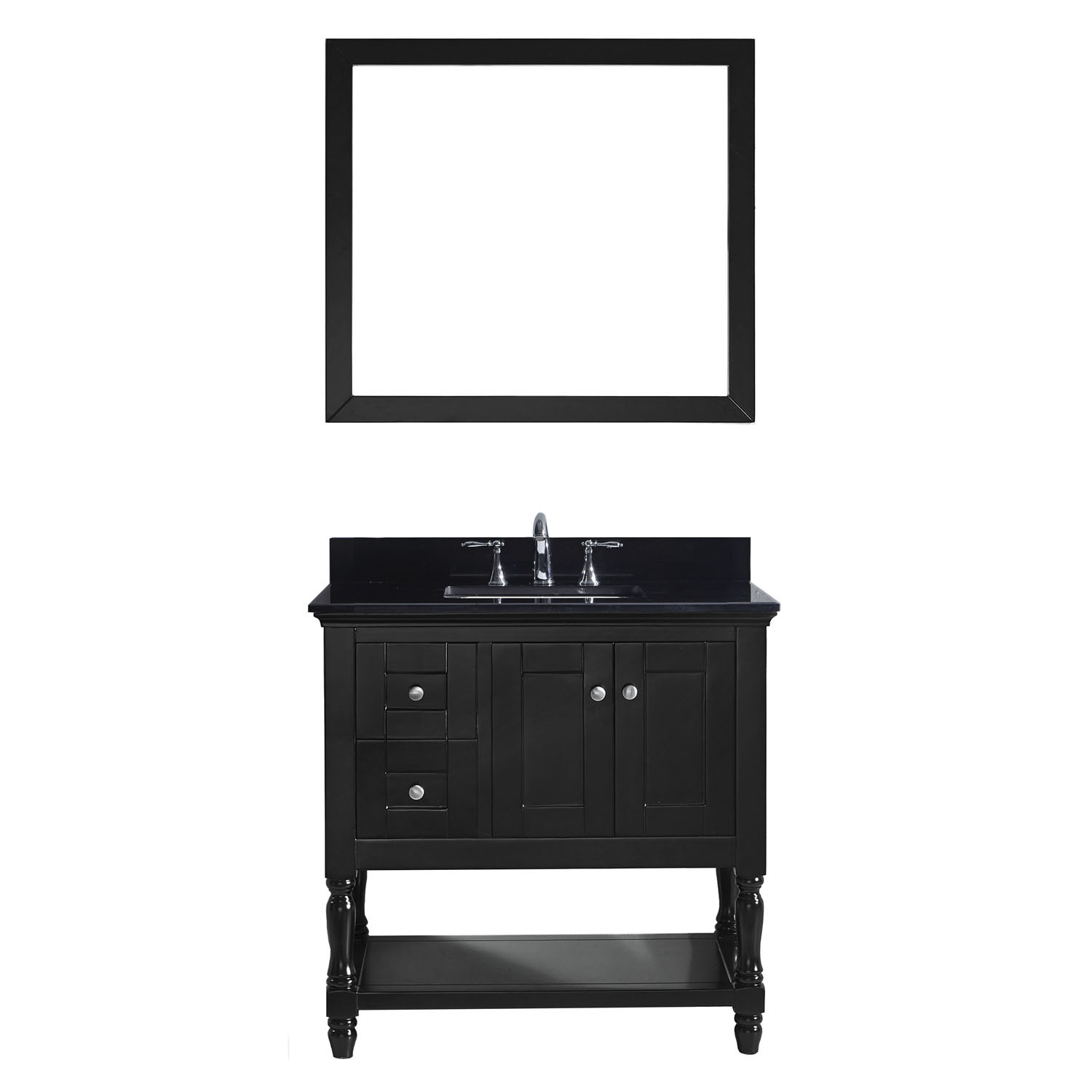 VIRTU MS-3136-BGSQ-ES-001 Julianna 36 Inch Single Bathroom Vanity Set In Espresso