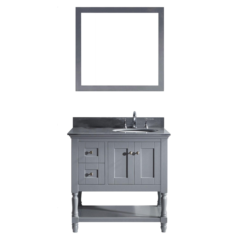 VIRTU MS-3136-GQRO-GR-001 Julianna 36 Inch Single Bathroom Vanity Set In Grey