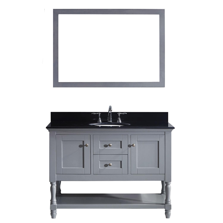 VIRTU MS-3148-BGRO-GR-002 Julianna 48 Inch Single Bathroom Vanity Set In Grey