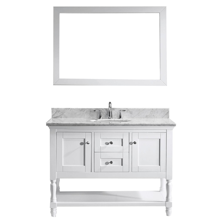 VIRTU MS-3148-WMRO-WH-002 Julianna 48 Inch Single Bathroom Vanity Set In White
