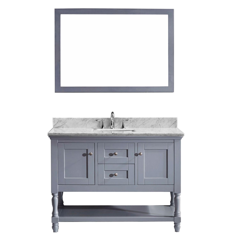 VIRTU MS-3148-WMSQ-GR-001 Julianna 48 Inch Single Bathroom Vanity Set In Grey