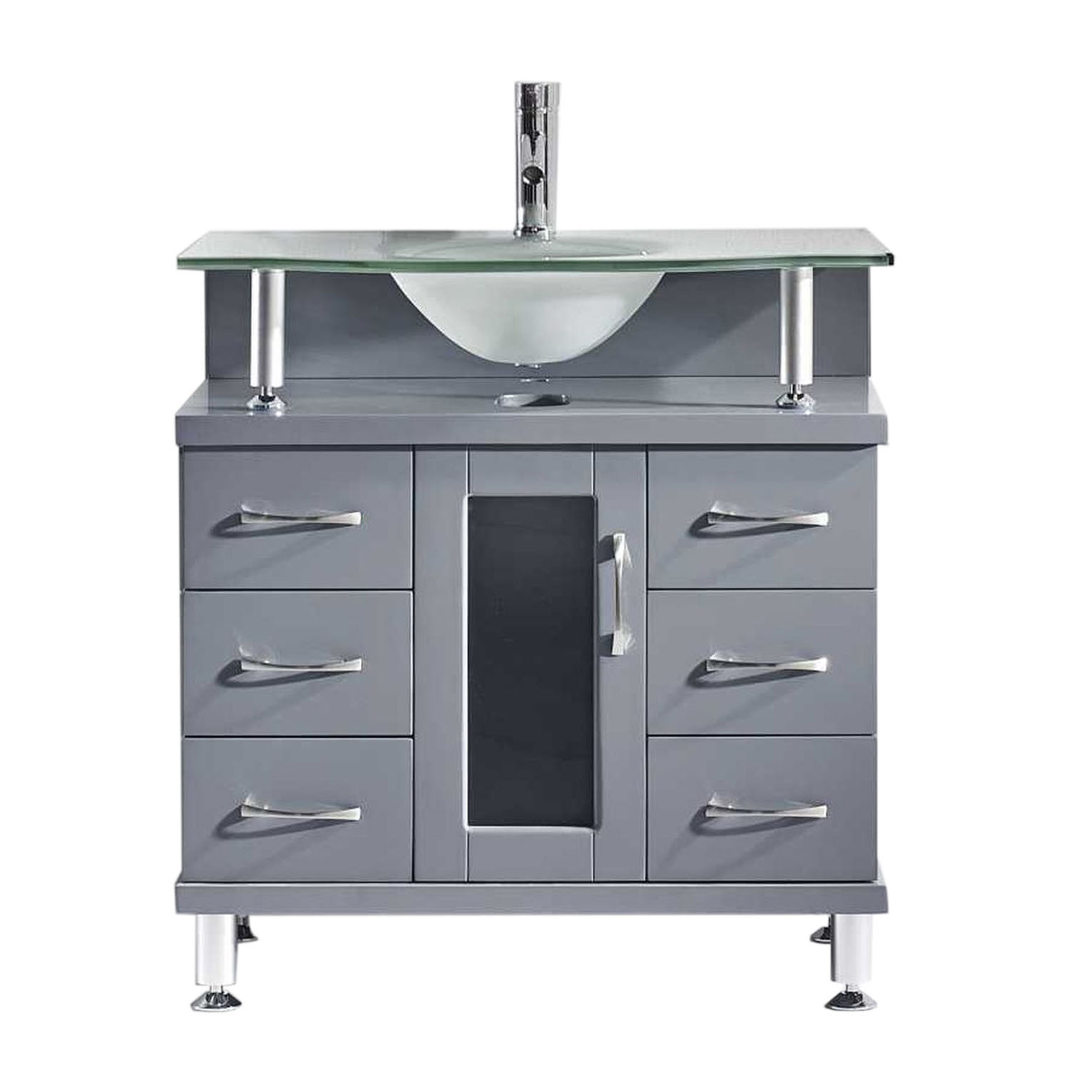Virtu MS-32-FG-GR Vincente 32 Inch Single Bathroom Vanity Set In Grey With Frosted Glass Top