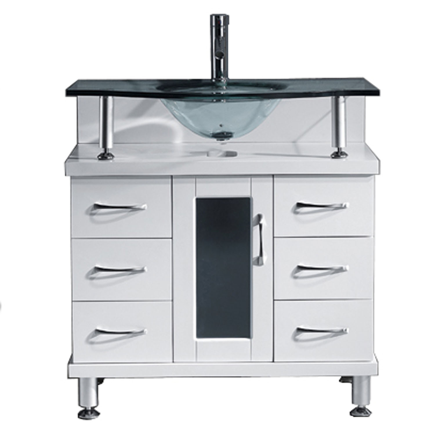 Virtu MS-32-G-WH Vincente 32 Inch Single Bathroom Vanity Set In White With Clear Glass Top