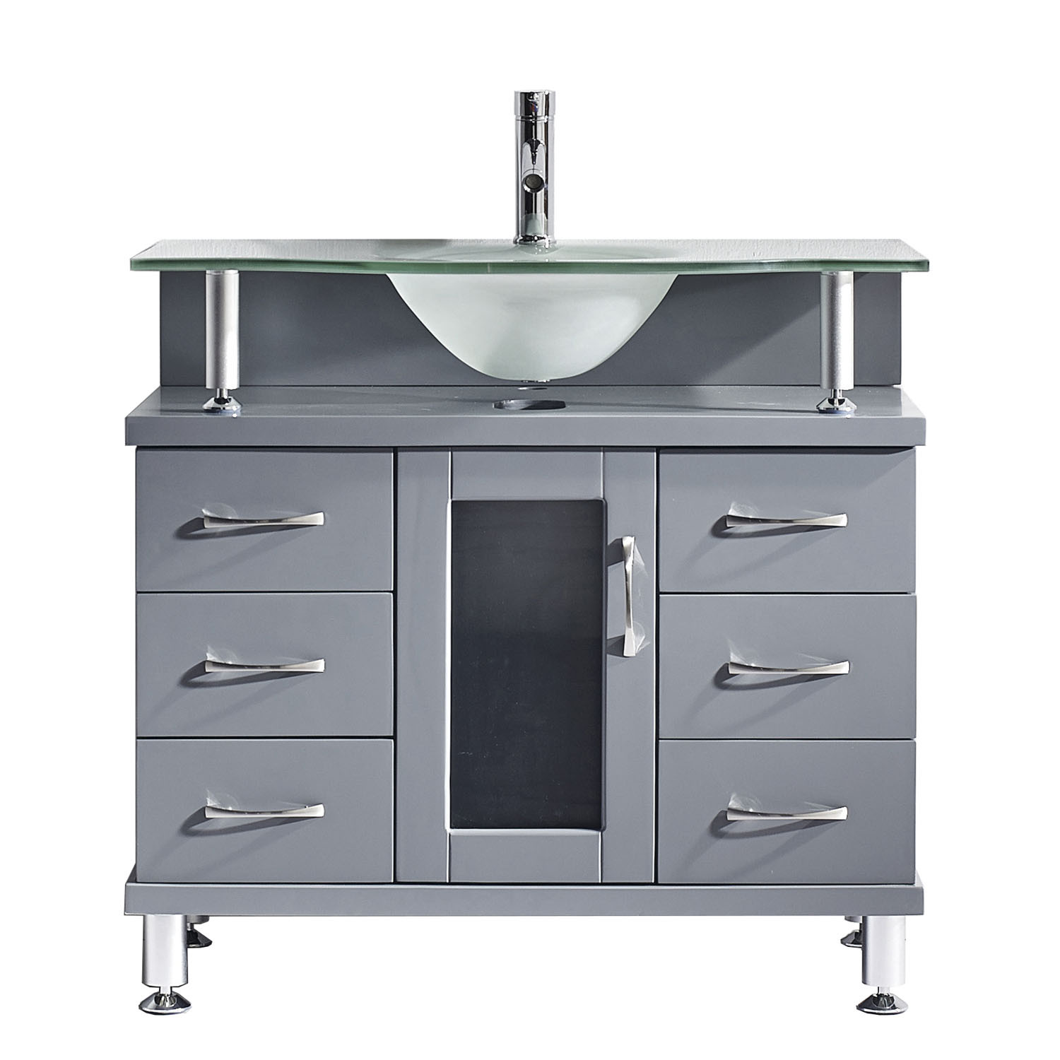 Virtu MS-36-FG-GR Vincente 36 Inch Single Bathroom Vanity Set In Grey With Frosted Glass Top