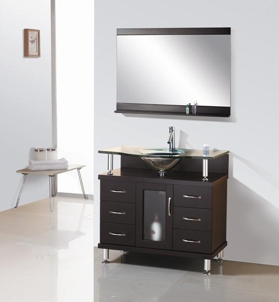 """Virtu USA MS-36-G-ES 36"""" Vincente Single Sink Bathroom Vanity in Espresso"""
