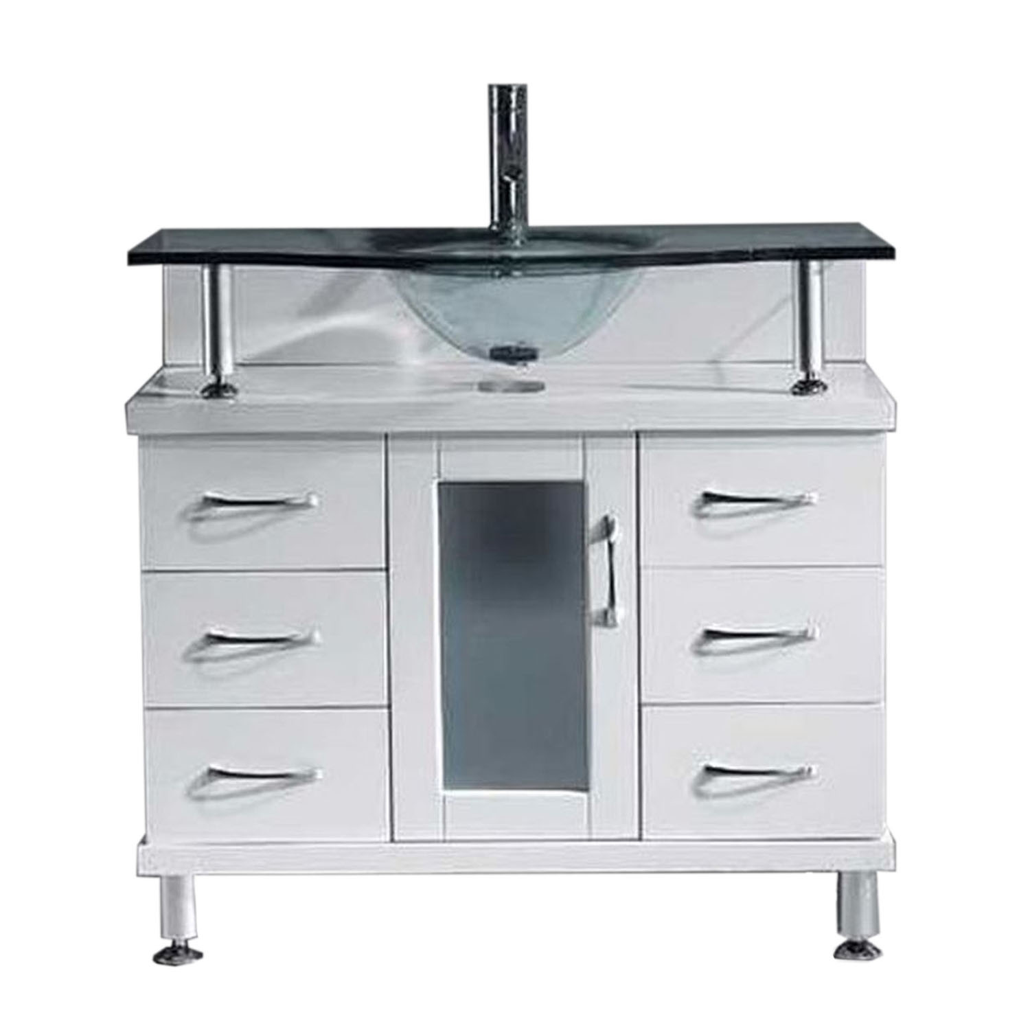 Virtu MS-36-G-WH Vincente 36 Inch Single Bathroom Vanity Set In White With Clear Glass Top