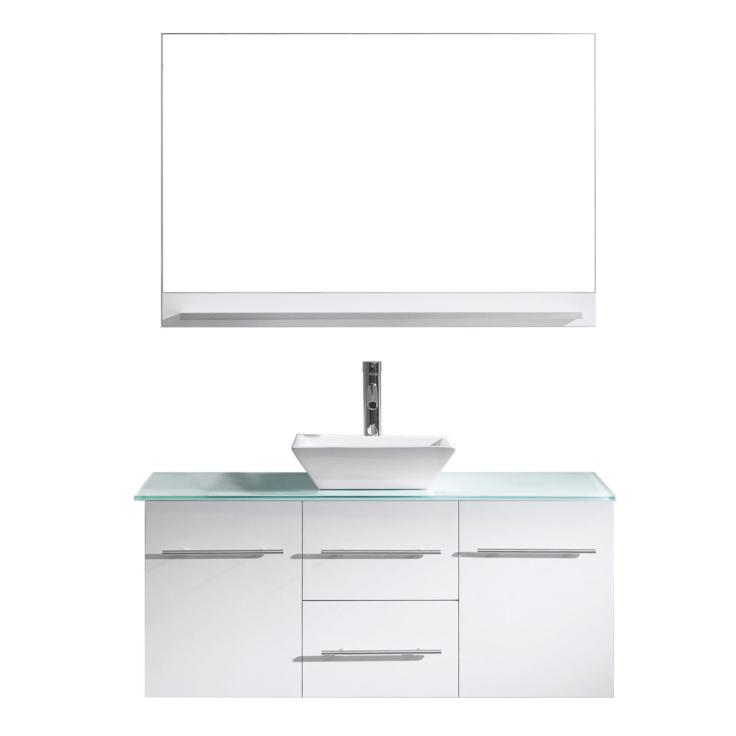 Virtu MS-420-G-WH-001 Marsala 48 Inch Single Bathroom Vanity Set In White With Glass Top