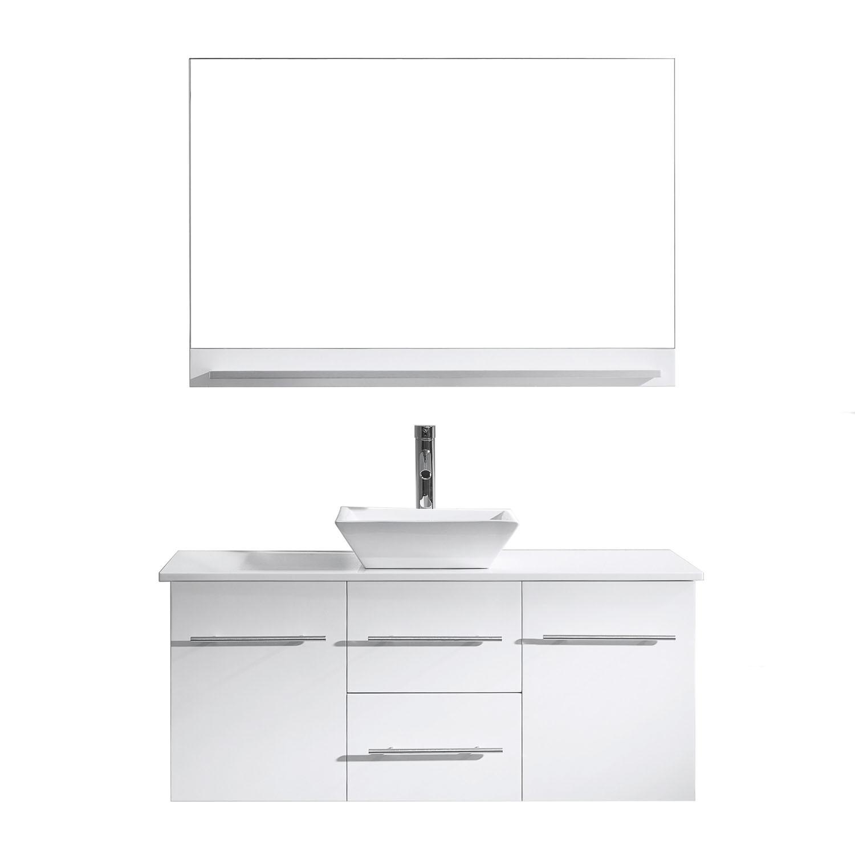Virtu MS-420-S-WH Marsala 48 Inch Single Bathroom Vanity Set With Engineered Stone Top