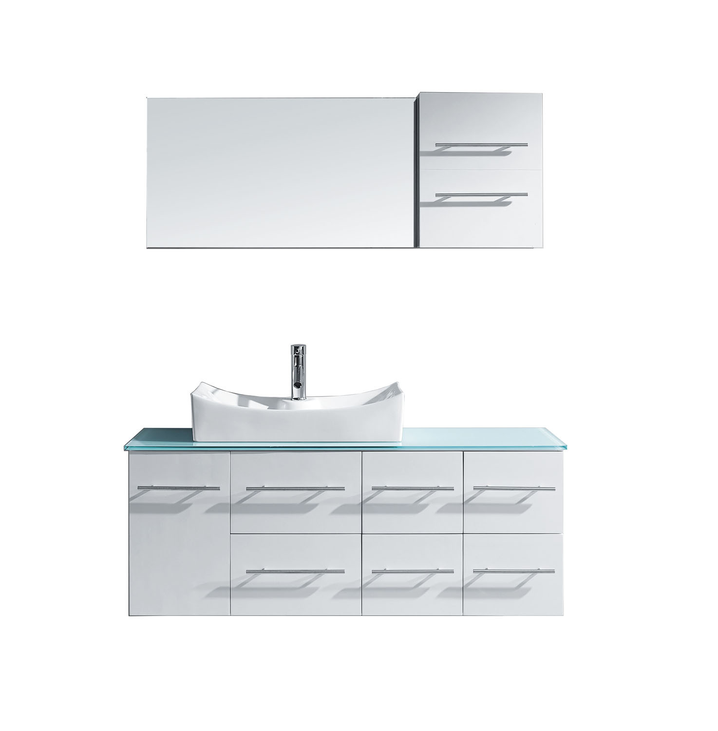 Virtu MS-430-G-WH-001 Ceanna 55 Inch Single Bathroom Vanity Set With Glass Top