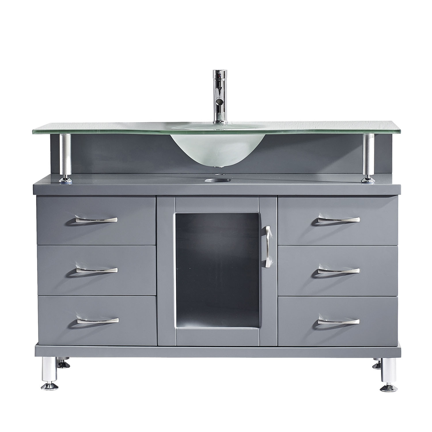 Virtu MS-48-FG-GR Vincente 48 Inch Single Bathroom Vanity Set In Grey With Frosted Glass Top