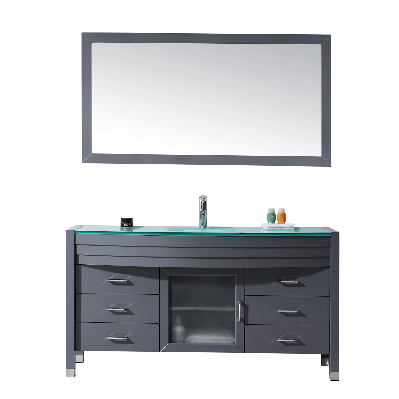 Virtu MS-5061-G-GR Ava 61 Inch Single Bathroom Vanity Set With Glass Top