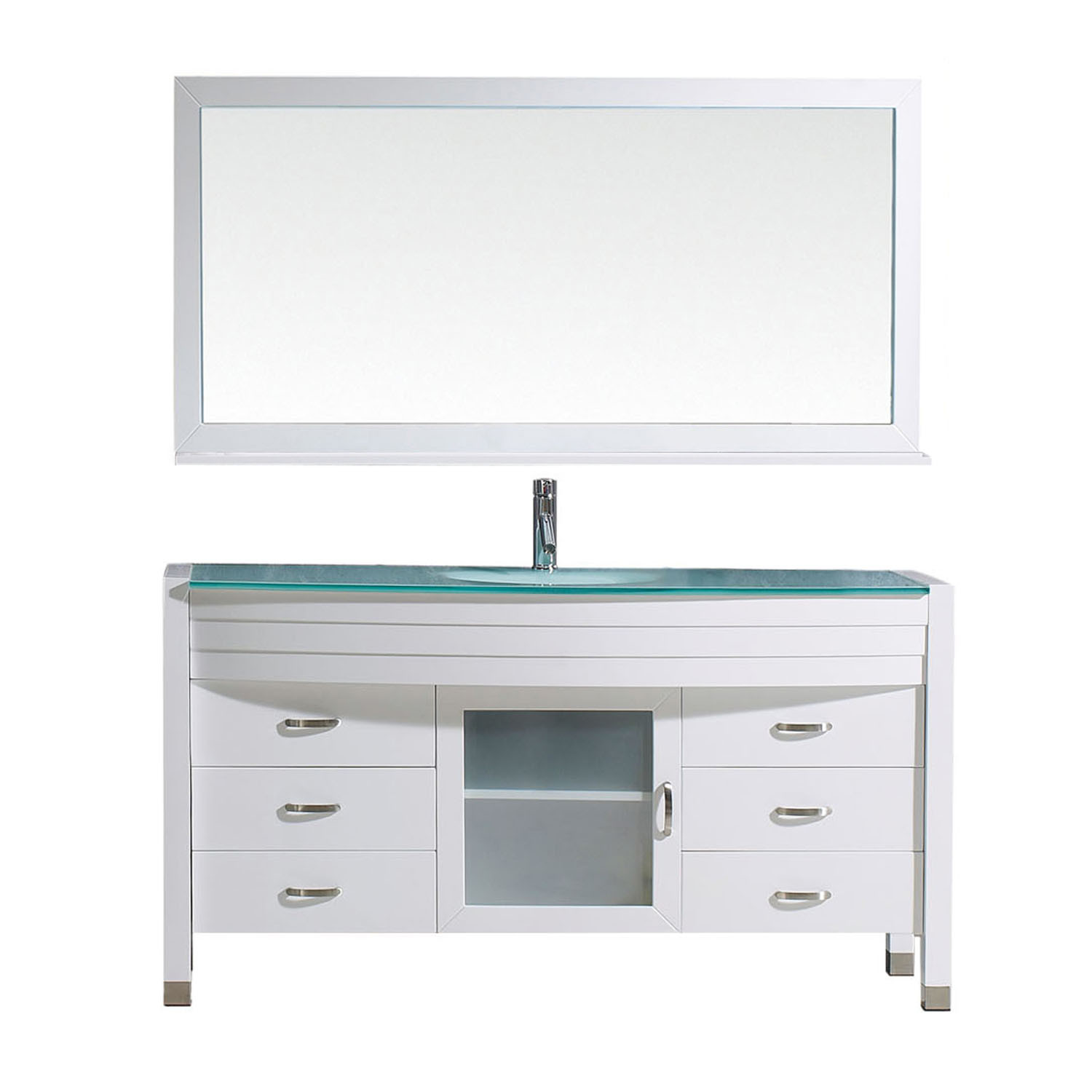 Virtu MS-5061-G-WH-001 Ava 61 Inch Single Bathroom Vanity Set In White