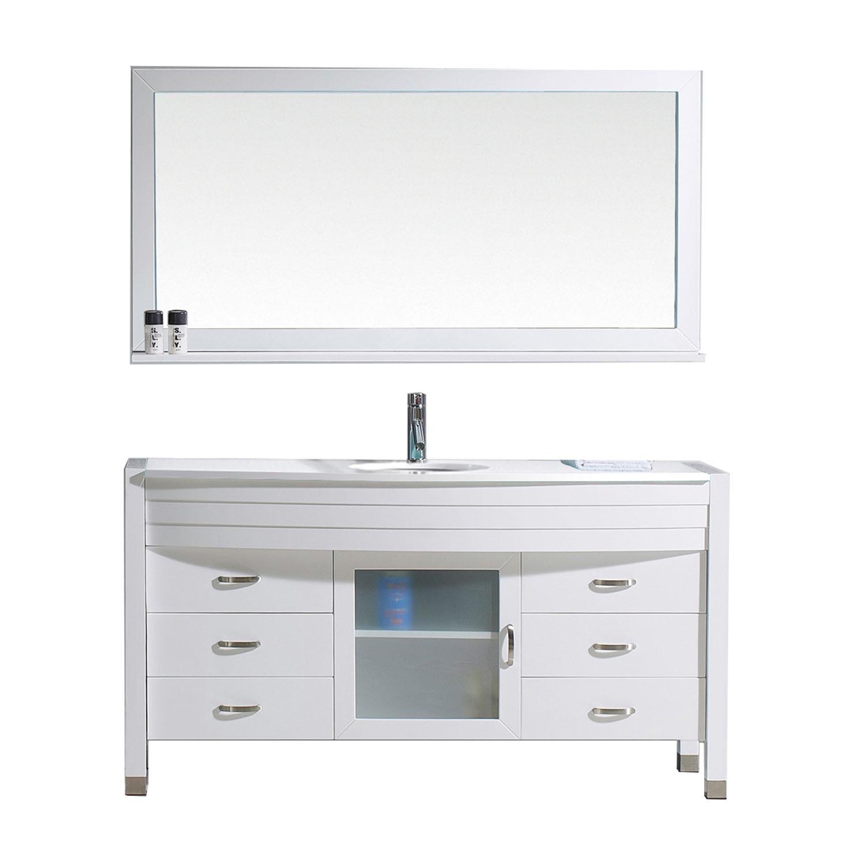 Virtu MS-5061-S-WH Ava 61 Inch Single Bathroom Vanity Set With Engineered Stone Top