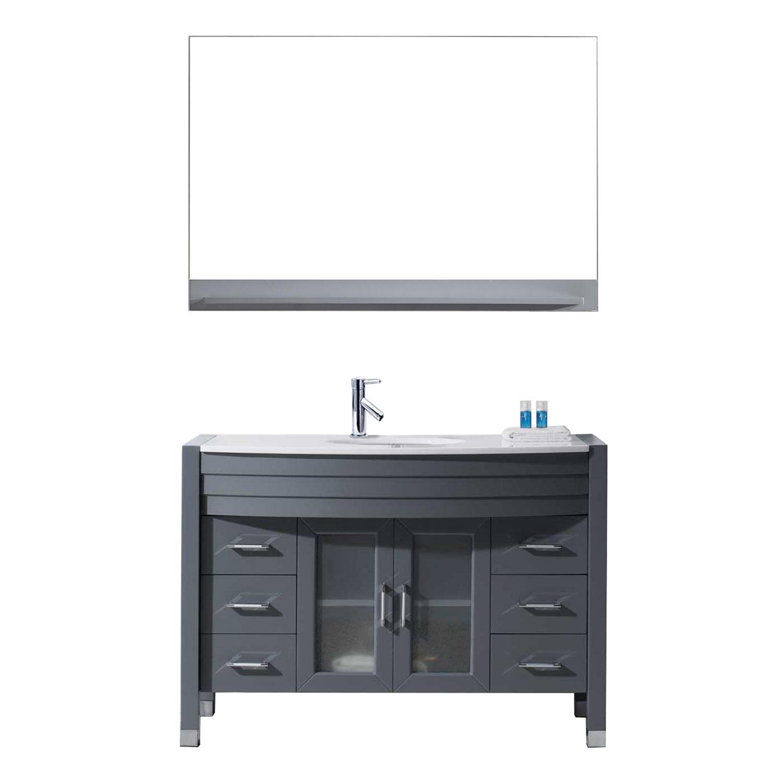 VIRTU MS-509-S-GR-001 Ava 48 Inch Single Bathroom Vanity Set In Grey