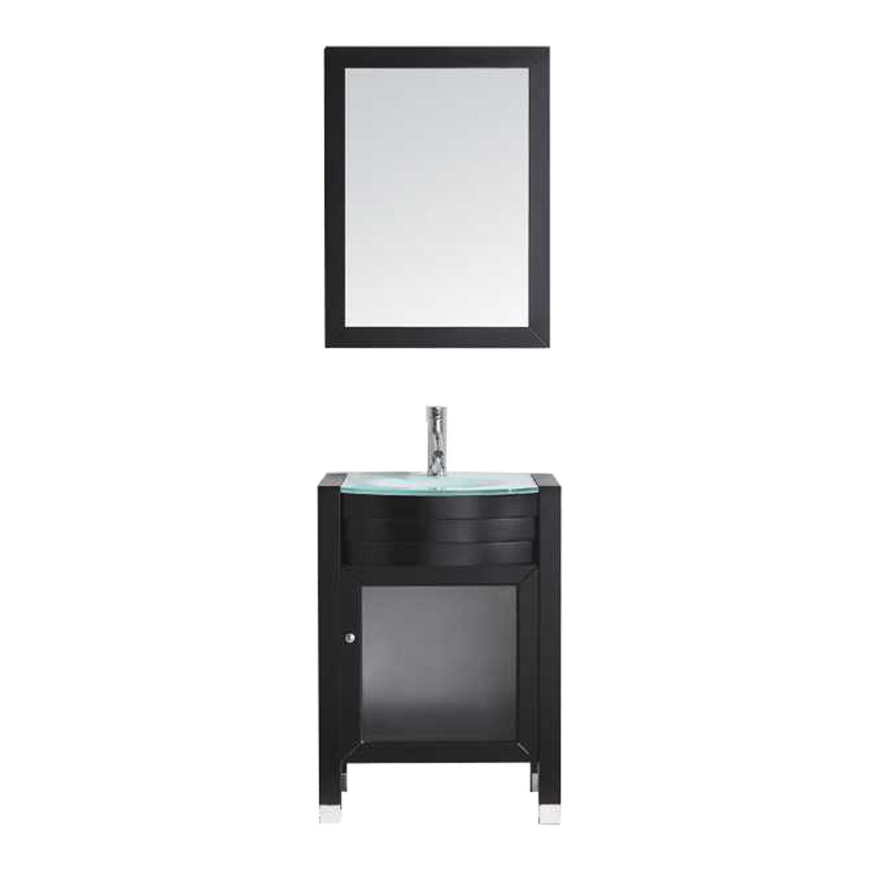 Virtu MS-545-ES 24'' Ava Sink Espresso Finish Single Bathroom Vanity W/ Mirror