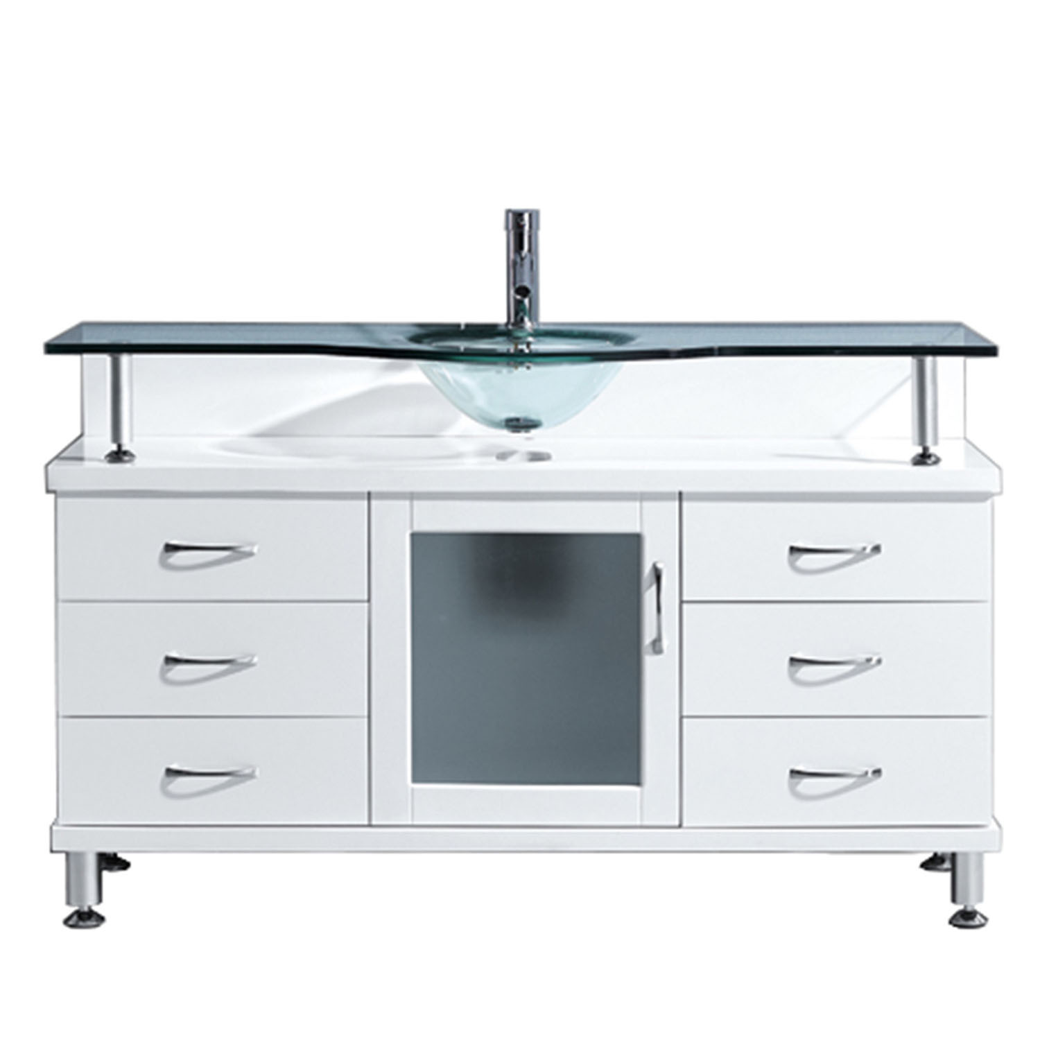 Virtu MS-55-G-WH Vincente 55 Inch Single Bathroom Vanity Set With Clear Glass Countertop