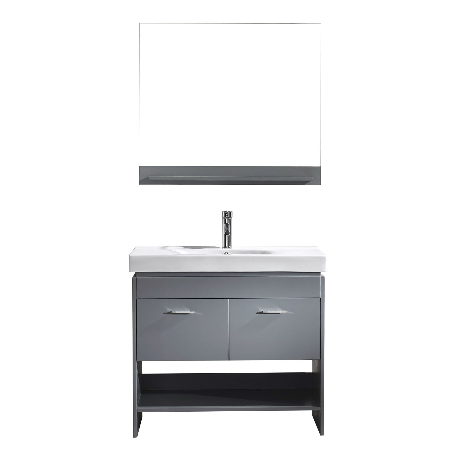 Virtu MS-555-C-GR Gloria 36 Inch Single Bathroom Vanity Set In Grey