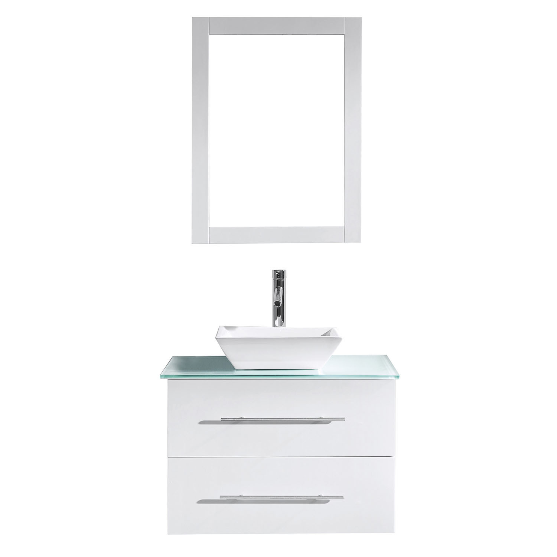 Virtu MS-560-G-WH Marsala 29 Inch Single Bathroom Vanity Set In White With Glass Top